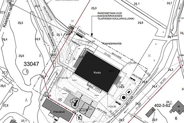 Kuvassa alustava asemapiirros Kaarelan raitin tilapäisrakennuksen sijainnista
