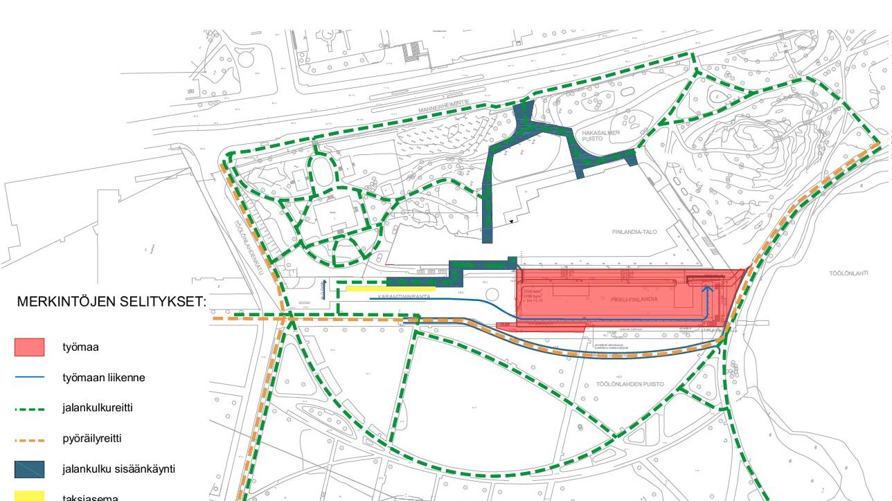 Kartta Töölönlahden puiston muuttuneista liikennejärjestelyistä.