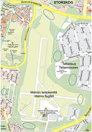 Kartta maaperätutkimusten sijainnista.