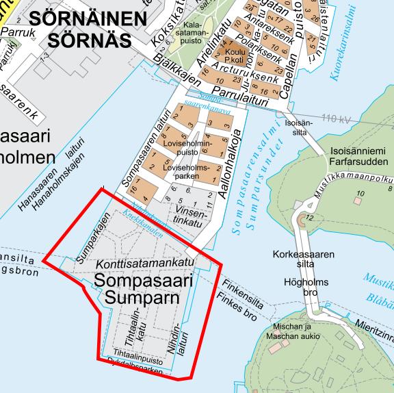 Kartta työmaa-alueesta