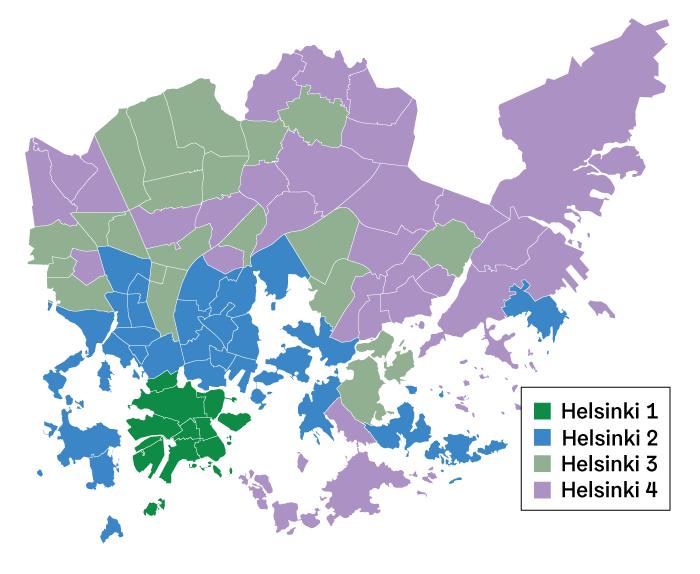 Helsingin asuntomarrkinoiden kalleusalueet