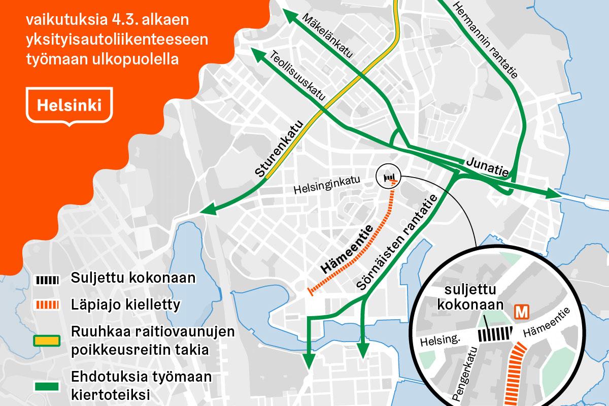 Hameentien Tyomaa Tulee Haittaamaan Liikennetta Helsingin Kaupunki