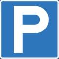 Pysäköintipaikka. Kuvassa on valkoinen P-kirjain. Sininen tausta.