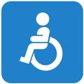 Esteetön pysäkki. Kuvassa on pyörätuolissa istuva henkilö. Sininen tausta.