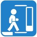 Korotettu pysäkki. Kuvassa henkilö astumassa pysäkkitasolta liikennevälineeseen. Pysäkki kuvattu vasempaan alareunaan paksulla viivalla. Liikennevälineen sisäänkäyntiä kuvaa henkilön oikealla puolella avoinna oleva ovi. Sininen tausta.