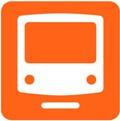 Metro. Kuvassa on metro kuvattuna edestäpäin. Metron runko on valkoinen ja siitä erottuu iso ohjaamon ikkuna ja etuvalot. Alapuolella on poikkiviiva kuvaamassa kiskoja. Oranssi tausta.
