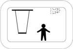 Keinu. Kuvassa on keinuistuin ja istuimen ketjut kuvattuna edestäpäin. Keinun oikealla puolella on lapsen hahmo. Oikeassa yläkulmassa on pistekirjoitusteksti. Valkoinen tausta.