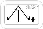 Varsikeinu. Kuvassa on A-kirjaimen muotoinen keinulaite, jonka keskellä on tukivarsi pystysuunnassa. Keinun oikealla puolella on lapsen hahmo. Oikeassa yläkulmassa on pistekirjoitusteksti. Valkoinen tausta.