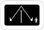 Varsikeinu. Kuvassa on A-kirjaimen muotoinen keinulaite, jonka keskellä on tukivarsi pystysuunnassa. Keinun oikealla puolella on lapsen hahmo. Tumma tausta.