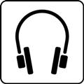 Ääniopastus. Kuvassa on kuulokkeet. Valkoinen tausta.