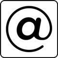 Internet-piste. Kuvassa on sähköpostiosoitteessa käytettävä @-merkki. Valkoinen tausta.