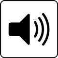 Kuuntelu. Kuvassa on kaiutin, jonka vieressä on kolme kaarevaa viivaa kuvaamassa ääniaaltoja. Valkoinen tausta.