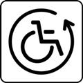 Lainattavat apuvälineet. Kuvassa on pyörätuoli kiertävän nuolen sisällä. Valkoinen tausta.