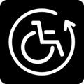 Lainattavat apuvälineet. Kuvassa on pyörätuoli kiertävän nuolen sisällä. Tumma tausta.