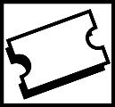 Lipunmyynti. Kuvassa on suorakulmion muotoinen lippu, jossa on mustat reunat. Valkoinen tausta.