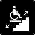 Porrashissi. Kuvassa on pyörätuolissa istuva henkilö tason päällä. Taso on portaiden päällä. Tason vasemmalla puolella on nuoli alaviistoon ja tason oikealla puolella on nuoli yläviistoon. Tumma tausta.
