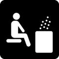 Sauna. Kuvassa vasemmalla puolella on henkilö, joka istuu tason päällä. Oikealla puolella on kiuas, jota kuvaa suorakaiteen muotoinen, täytetty laatikko, jonka yläpuolella on höyryä kuvaavia pisteitä. Tumma tausta.