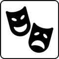 Teatteri. Kuvassa on kaksi naamiota, joista toinen on iloinen ja toinen surullinen. Valkoinen tausta.