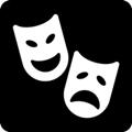 Teatteri. Kuvassa on kaksi naamiota, joista toinen on iloinen ja toinen surullinen. Tumma tausta.