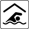 Uimahalli. Kuvassa on ylhäällä harjakatto, katon alla on uimari aaltojen päällä. Valkoinen tausta.