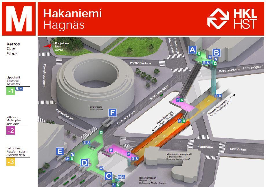 Hakaniemen Metroasema A Suljettu Palvelukartta