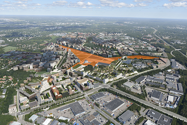 An oblique photograph of the location of Lentoasemanpuisto in the area. Photo: Voima Graphics / City of Helsinki.