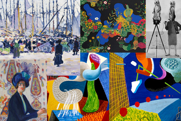 Collage of autumn art exhibitions in Helsinki.