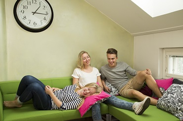 Young people on sofa