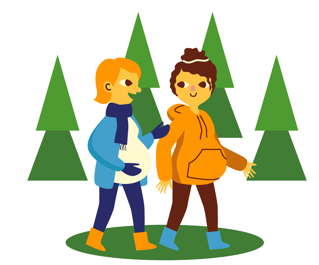 Two pregnant women walking in the woods for exercise.