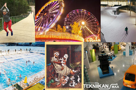There are many things to do in Helsinki over the autumn school break: (clockwise from upper left corner) Paloheinä training steps, Linnanmäki amusement park, Kivikko ski hall, Allas Sea Pool, Duckberg exhibition and Museum of Technology.
