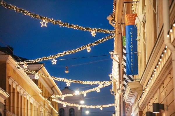 Lights create Christmas atmosphere in Helsinki's city centre.