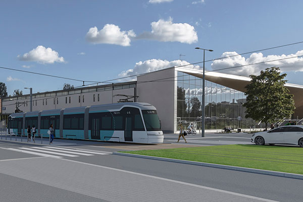 Illustration of Jokeri Light Rail in front of Maunula House.