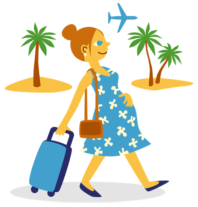 A pregnant woman travelling abroad draws a suitcase, with palm trees and a plane in the background.