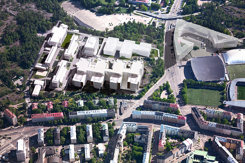 Indicative draft of the size and placement of the new hospital buildings. Image: Arkkitehtiryhmä LATU