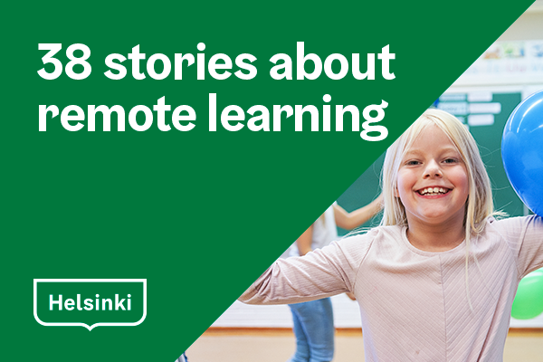 Happy girl in school and a title 38 stories about remote learning.