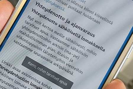 Mobile phone screen, photo by City of Helsinki