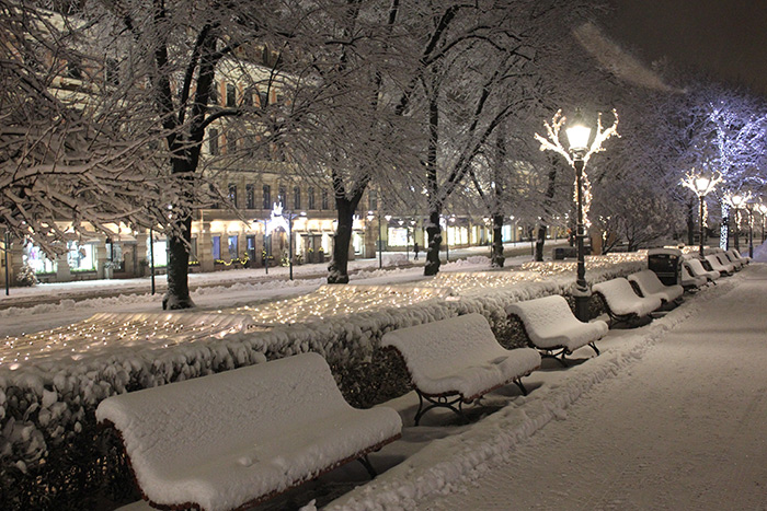 Snow covered Esplanade park. Photo: Mika Lappalainen.