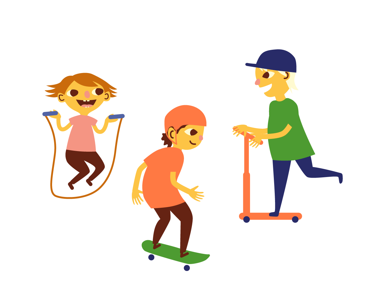 Three friends are kicking scooter, skateboarding and playing with a skipping rope.
