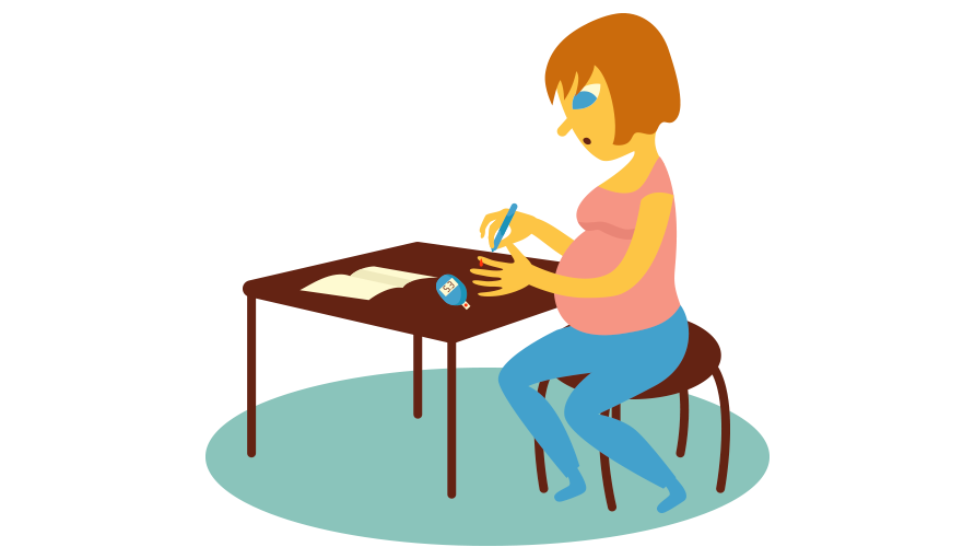 A pregnant woman is checking her bloodsugar.