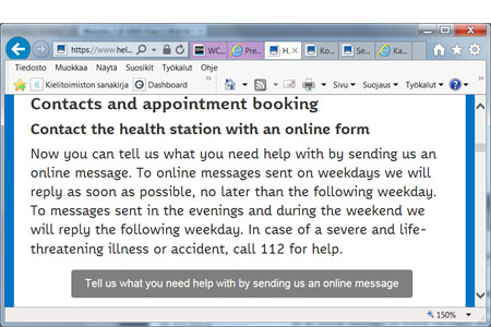 Print screen of the page where you can contact the healt station online.