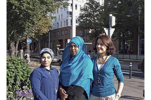 Women to Work project employees Zainab Al-Ali, Suhuur Musse and Marina Rinas.