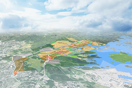 New land use plan for Östersundom drawn on an aerial photo. Rendering: City of Helsinki