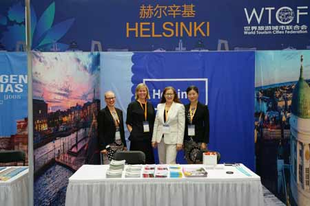 From left: Kaari Artemjeff and Laura Aalto from Helsinki Marketing, Helsinki Deputy Mayor Pia Pakarinen, and Wei Zhou from Helsinki Marketing.