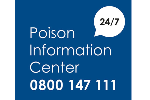 Poison Information Center open 24 hours a day 0800 147 111 (the call is free of charge).