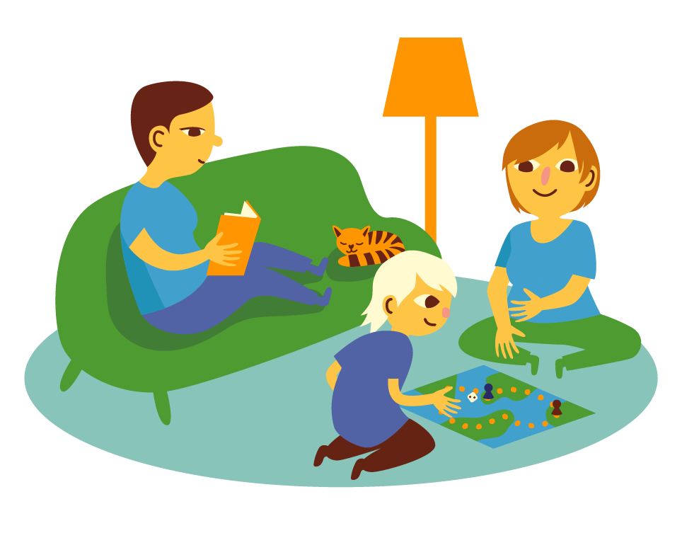 A mother is playing a board game with the child on the livingroom floor while the father is reading a book on the couch.