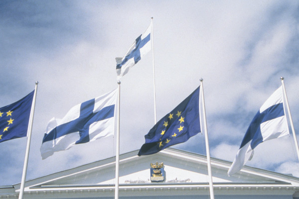 Flags at the City Hall. Photo: Markku Juntunen.