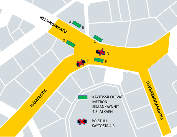 Changes To The Entrances To Sornainen Metro Station From 4 March Hsl