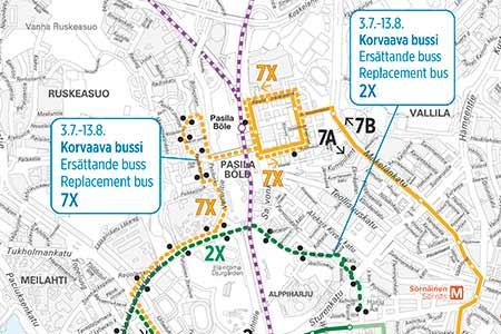 Tram routes 2, 3, 7A and 7B will be diverted from 3 July to 13 August 2017 due to track works.