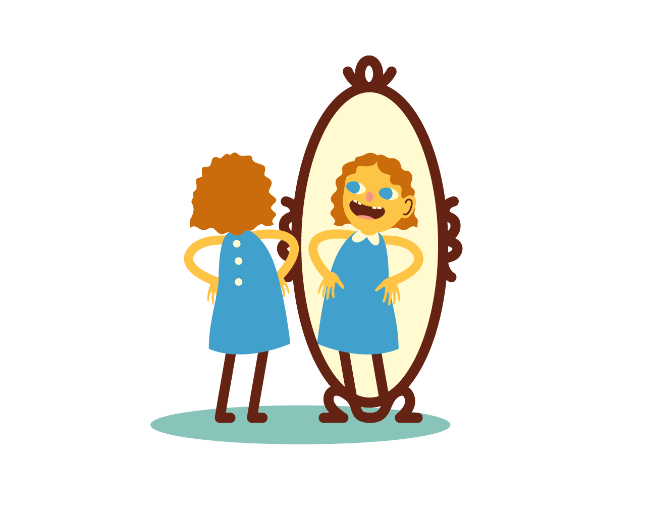 A child is looking in the mirror with admiration.