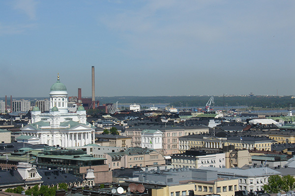 Down town Helsinki from the air.